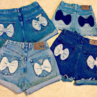 High Waisted Bow Shorts Custom Made Denim Jean by shortyshorts