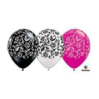 "(12) 11"" Damask Patterned Black, White & Pink Latex Balloons Party Decor"