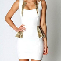 Large White Gold sequin PEPLUM Party Club Cocktail Mini dress 
