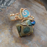 Lampwork Bead Wire Wrapped Copper Adjustable Ring with Sea Glass Bead