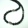 Snowflake obsidian necklace, mens black bead necklace, obsidian jewelry