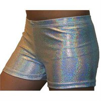 "Printed Spandex Court Shorts - Silver Hologram- 2.5"" Inseam"