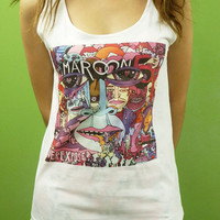 Maroon 5 Album CD Logo Cover Band  Adam Levine - Womens Tank Top Printed White T Shirt Pop Rock Singer Fan Light and Soft
