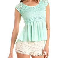 Crochet Top Hi-Low Peplum Blouse: Charlotte Russe