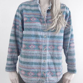 vintage native aztec button shirt L L Bean by Mothballz