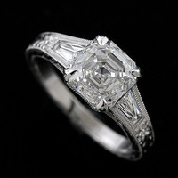 Modern Style Ring| Diamond Engagement Ring | Platinum Engagement Ring Mounting | Baguette Diamond Ring |Engagement Ring Mounting