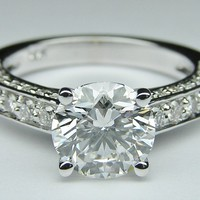 JUST THE SETTING Engagement Ring - Round Diamond Engagement Ring Three sides pave diamond band - ES303MBR