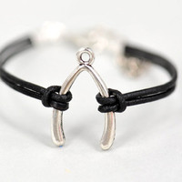 wishbone bracelet,retro bracelet wishbone  pendant bracelet,black leather bracelet---B187