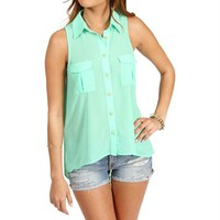 Mint Sleeveless Hi Lo Top