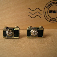 Camera Earrings Studs Green with Centre Bling by Bitsofbling