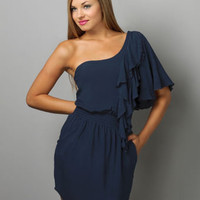 Doe-Eyed One Shoulder Dress in Gucci Blue - $36.00 : Fashion Shop By Color at LuLus.com