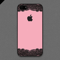 iPhone 5 case  Black lace and Pale pink rose color by evoncase
