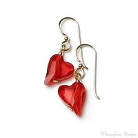 Red Hot Wild Heart Swarovski Crystal 14K by whimsydaisydesigns