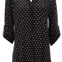 Black Polka Dot Shirt - Tops  - Clothing