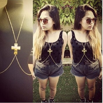 Gold Cross Body Chain Harness