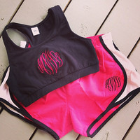Monogrammed Sports Bra with Running Shorts