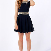 TFNC Hope Navy Blue Beaded Dress