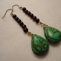 Green Magnesite Garnet Spring Beaded Earrings by MajaEarrings