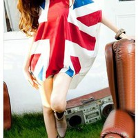ladies trendy British flag design top