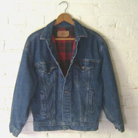 Vintage Levis Jacket, Women L, Red &amp; Black Plaid Flannel Lined