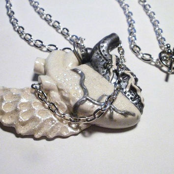 Romeo & Juliet-- Anatomical Heart Necklace-- Polymer