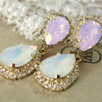 Crystal opal earring  14k plated gold  earrings real by iloniti