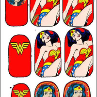 Red Hot Wonder Woman Nail Decals