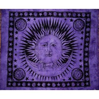 "Celestial Tapestry-Bedspread-Throw-Coverlet-Versatile-82"" x 92""-Purple"