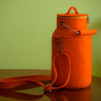 Orange Felt Milk Can Bag