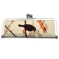 Brown Bird and Orange Cherry Blossom Frame Clutch by kailochic