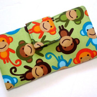 Handmade green wallet with happy and smiley monkey by PatrisCorner