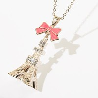 Princess Vera Wang Gold Tone Simulated Crystal Textured Eiffel Tower Pendant