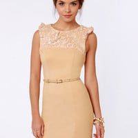 Darling Dominique Belted Nude Lace Dress