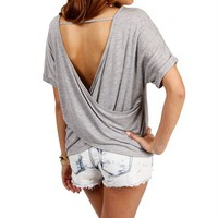 Heather Gray Wrapped Back Top
