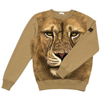 LION Photo Tie Dye Organic Camel Fleece by LoveFashionMusic