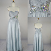 Strapless Sweetheart with Beading Chiffon Silver Prom Dresses Bridesmaid Dress, Wedding Party Dresses, Evening Gown, Evening Dresses