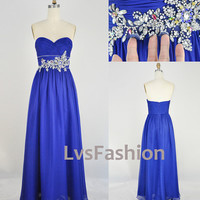 Strapless Sweetheart with Beading Chiffon Long Blue Prom Dresses Bridesmaid Dress, Wedding Party Dresses, Evening Gown