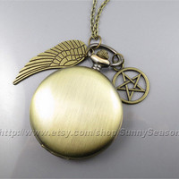 Supernatural Inspired Pocket Watch Necklace, bronze Wing and pentagram Pendant locket watch necklace