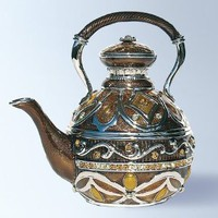 Teapot Box set with Swarovski Crystals Tea Kettle Pill Box Coffee Pot with Handle Trinket Box Amber 24 karat Gold Brown Certificate of Authenticity: Amazon.com: Home &amp; Kitchen