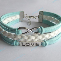 mint bracelets, infinity bracelet, love bracelet, infinity charm, men's women's leather bracelets, braided bracelets, gift for brithday