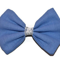 Fabric Hair Bow Lace Light Blue Clip