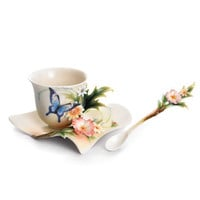 """Fluttering Beauty"" flower and butterfly porcelain cup/saucer set, and spoon $110.00"