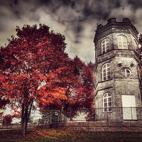 White tower of autumn surreal photo red trees by behindmyblueeyes