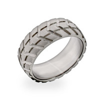 Sterling Silver Jewelry - Men's Stainless Steel Tire Ring