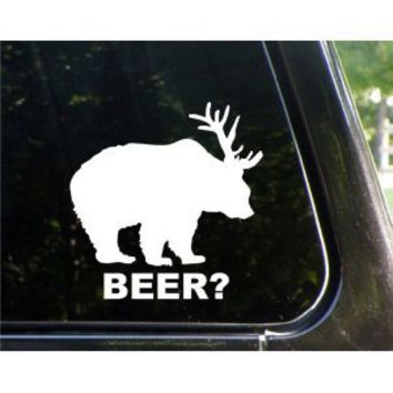 Bear + Deer = BEER funny decal / sticker