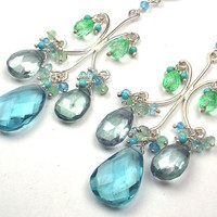 Blue Green Statement Chandelier Earrings by TownCountryJewelry