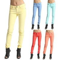 MOGAN Colored Wash 5 POCKET SKINNY JEANS Sleek Low Rise Stretch Denim Jeggings