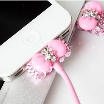 Pink Rhinestone Bow USB Power Charger For Iphone 4/4s