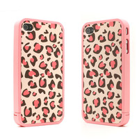 Nice Pink Leopard Print Hard Cover Case For Iphone 4/4s