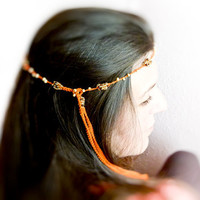 Summer crochet headband Tangerine golden brown by Mashacrochet